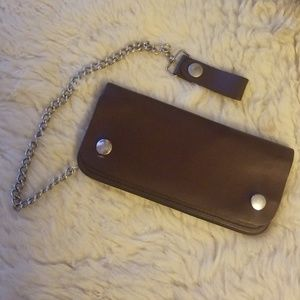Accessories - Brown leather chain wallet